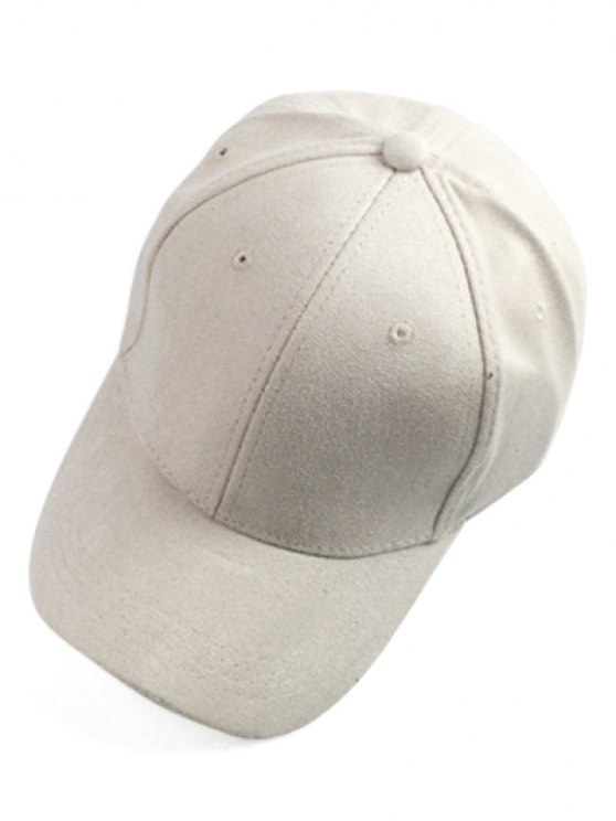 Brief Faux Suede Baseball Hat - OFF-WHITE  Mobile