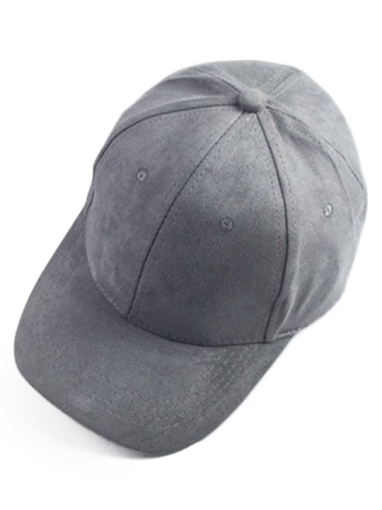 Brief Faux Suede Baseball Hat - DEEP GRAY  Mobile