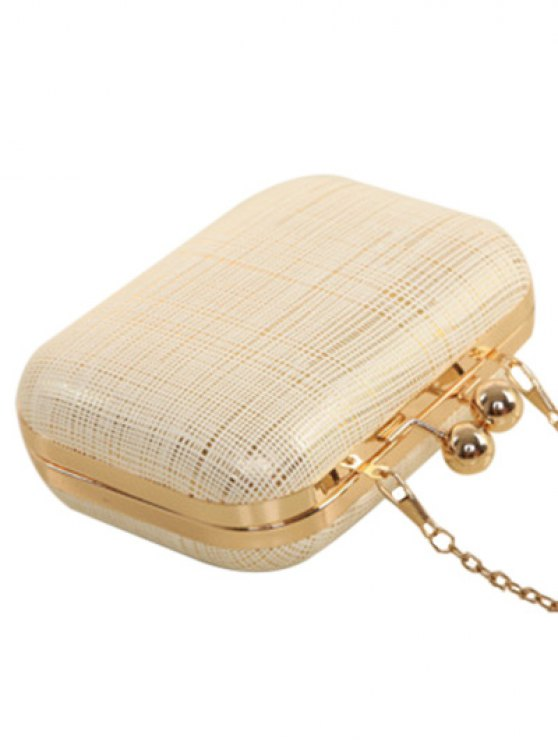 Kiss Lock  Chains Stripe Evening Bag - OFF-WHITE  Mobile