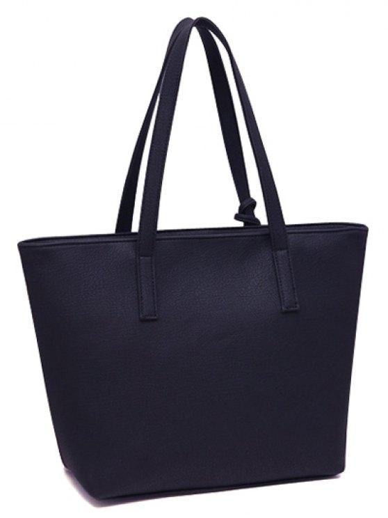 Checked Pattern Metal Tassels Shoulder Bag - DEEP BLUE  Mobile