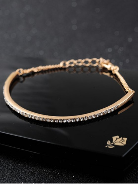 Alloy Rhinestone Half-Circle Chain Bracelet - GOLDEN  Mobile