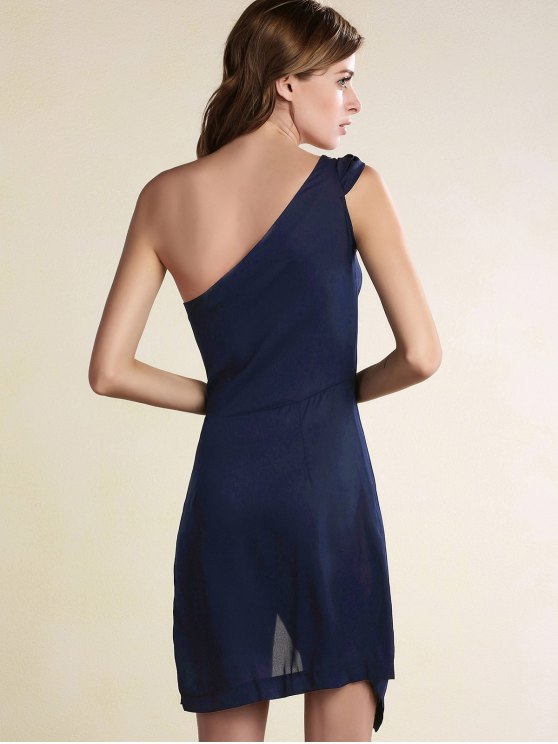 Black One Shoulder Side Slit Dress - PURPLISH BLUE S Mobile