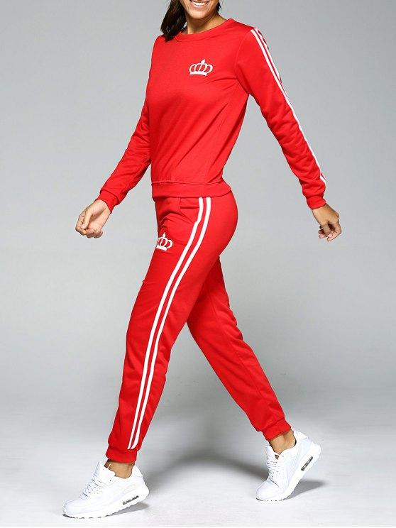 Impreso con capucha y pantalones de cintura elástica Traje - Rojo M
