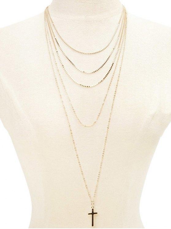 Layered Cross Adorn Pendant Sweater Chain - GOLDEN  Mobile