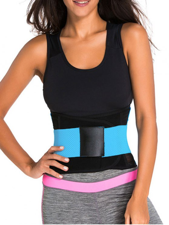 Hook and Loop Waist Trainer Corset - BLUE XS Mobile