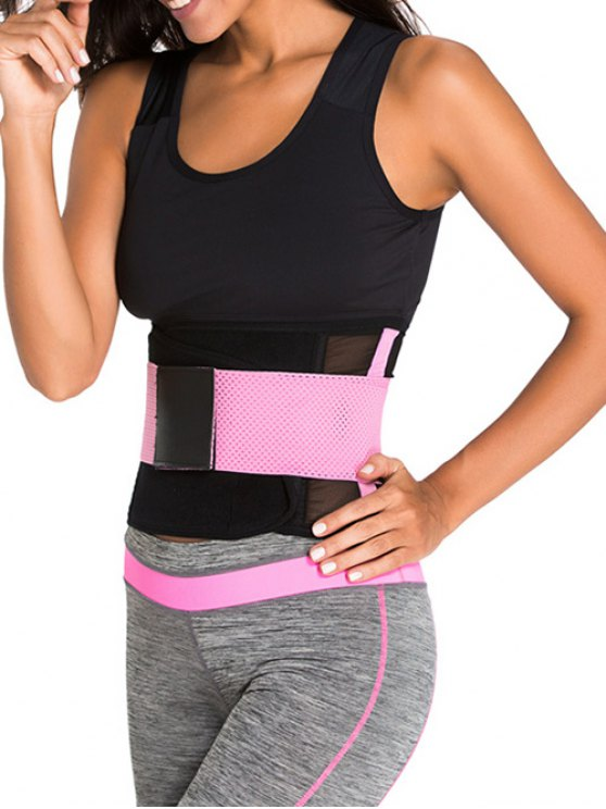 Hook and Loop Waist Trainer Corset - PINK S Mobile
