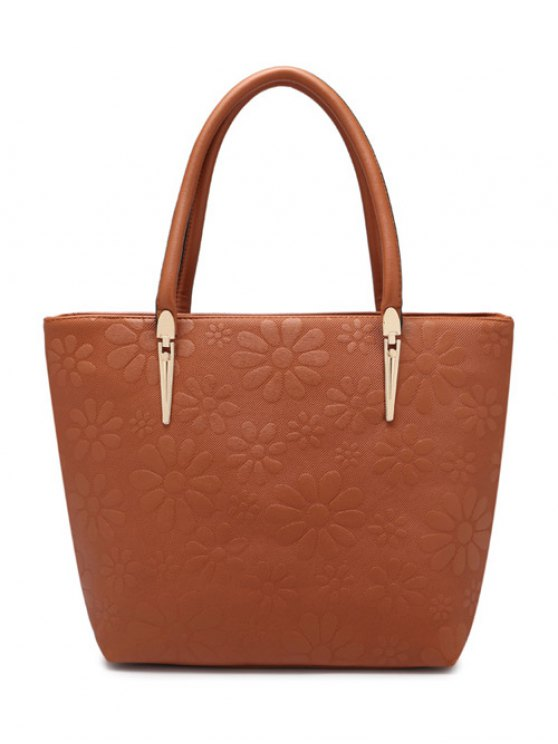 new Daisy Pattern PU Leather Metal Shoulder Bag - BROWN