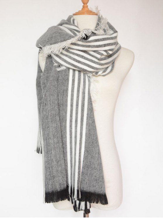 Stripe Fringed Shawl Wrap Scarf - BLACK  Mobile