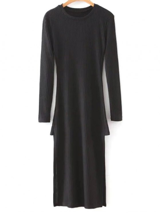 Side Slit Round Neck Long Sleeve Sweater Dress - BLACK M Mobile