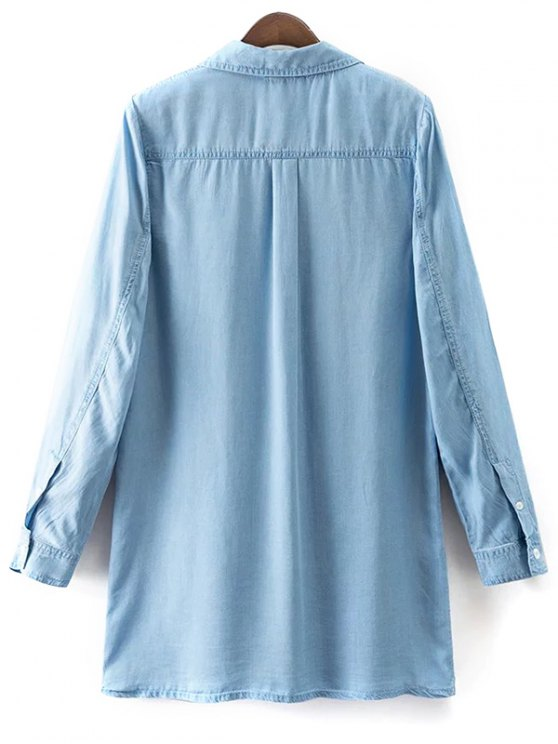 Pockets Long Sleeve Denim Shirt Dress - LIGHT BLUE M Mobile