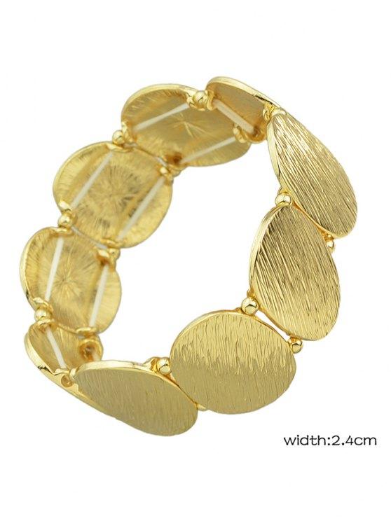 Elastic Alloy Oval Sequins Bracelet - GOLDEN  Mobile