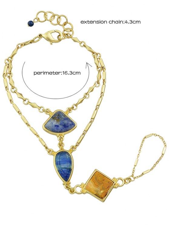 Geometric DIY Raw Stone Bracelet With Ring - GOLDEN  Mobile