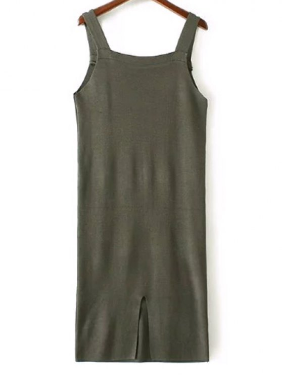 Back Slit Front Pocket Tank Sweater Dress - ARMY GREEN ONE SIZE Mobile