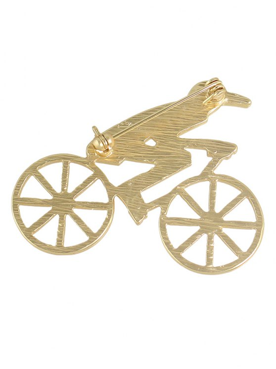 Bicycle Hollow Out Boy Shape Brooch - GOLDEN  Mobile