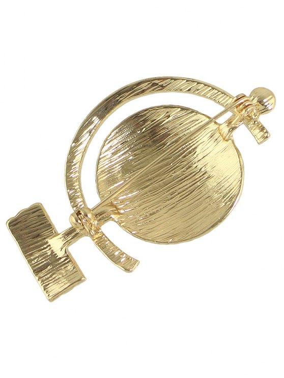 Tellurion Shape Rhinestone Brooch - GOLDEN  Mobile
