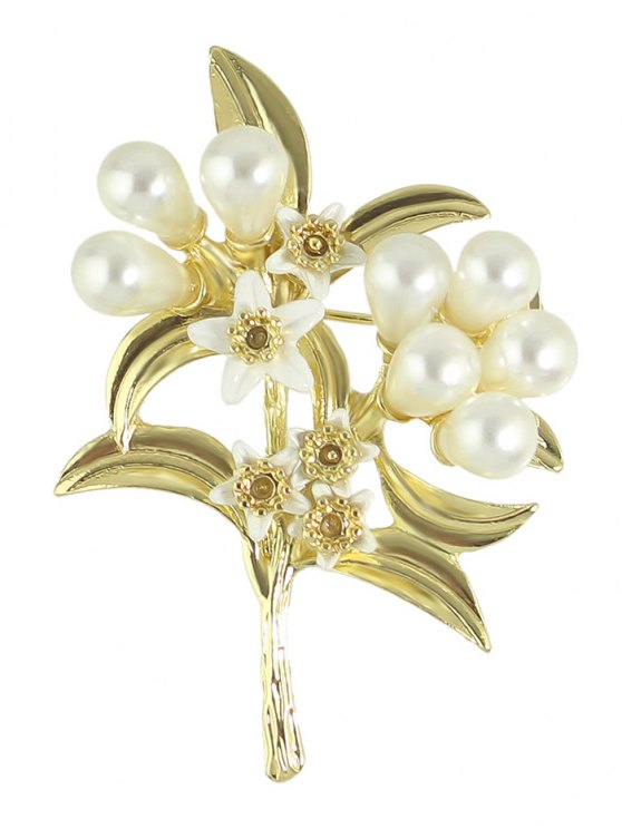 Faux Pearl Leaf Floral Alloy Brooch - GOLDEN  Mobile