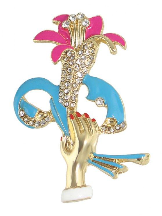 Hand Lift Floral Shape Rhinestone Brooch -   Mobile