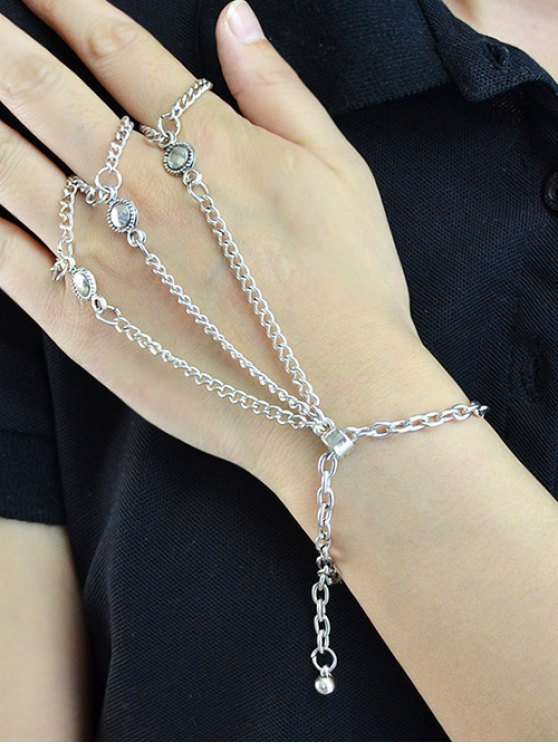 Alloy Charm Chains Bracelet With Ring - SILVER  Mobile