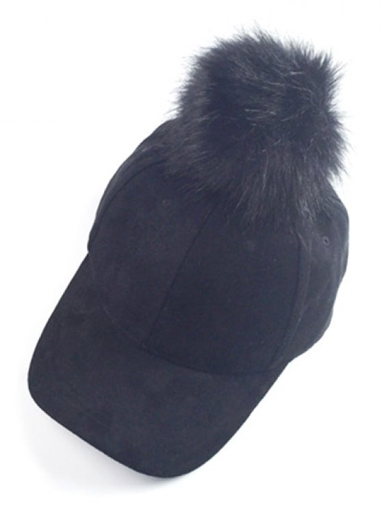 Big Fuzzy Ball Faux Suede Baseball Hat - BLACK  Mobile