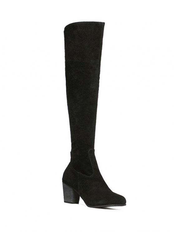 Flock Zipper Chunky Heel Thing High Boots - Black 37