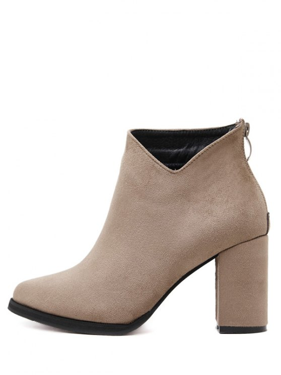 Pointed Toe Chunky Heel Flock Ankle Boots - CAMEL 39 Mobile