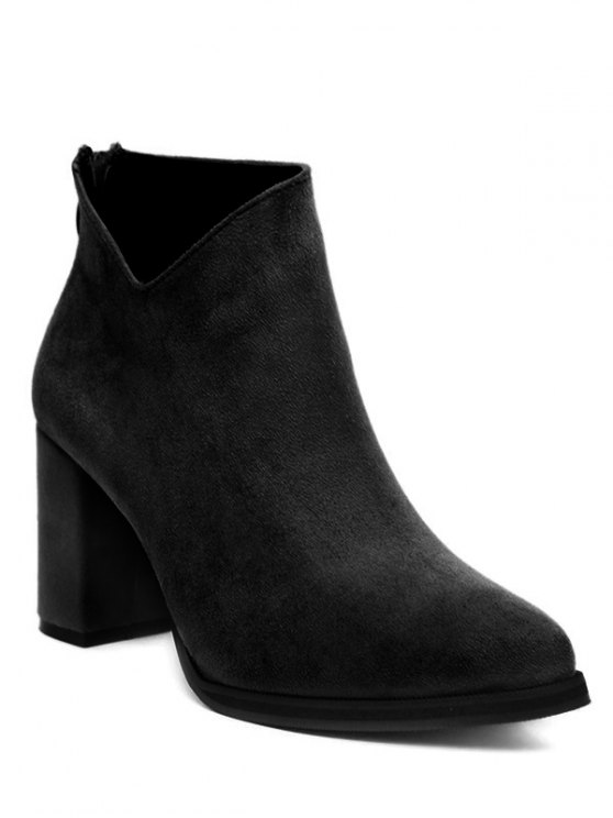 Pointed Toe Chunky Heel Flock Ankle Boots - BLACK 39 Mobile
