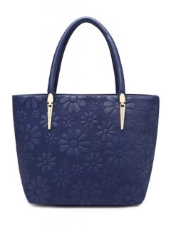 Daisy Pattern PU Leather Metal Shoulder Bag - Deep Blue