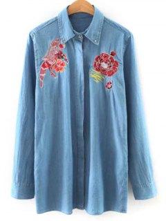 Shirt Neck Embroidered Denim Shirt - Light Blue L