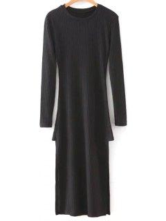 Side Slit Round Neck Long Sleeve Sweater Dress - Black M