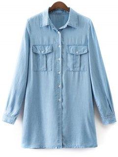 Pockets Long Sleeve Denim Shirt Dress - Light Blue S