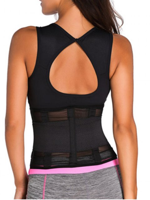 affordable Hook and Loop Waist Trainer Corset - BLACK XS Mobile