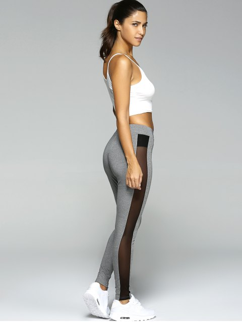 outfit Gauze Skinny Sport Leggings - GRAY S Mobile
