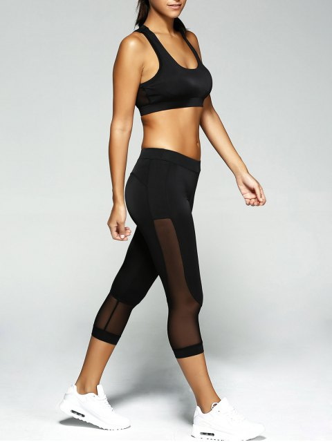 shops Patched Crop Top and Leggings Sport Suit - BLACK S Mobile
