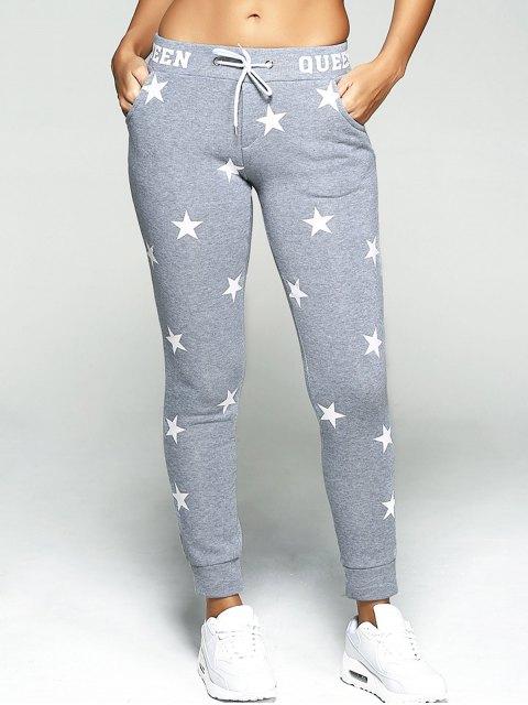 women Star Print Sport Pants - GRAY M Mobile