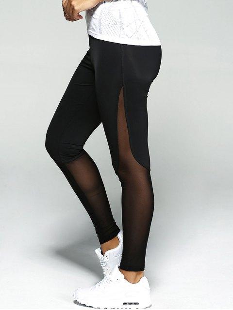 ladies Mesh Insert Sport Leggings - BLACK L Mobile