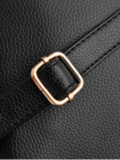 new Metal Rivets Zippers PU Leather Backpack - BLACK  Mobile