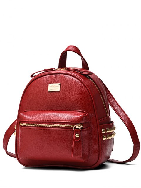 outfit Metal Rivets Zippers PU Leather Backpack - WINE RED  Mobile