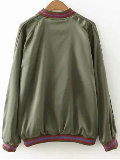 women Flower Embroidered Reversible Baseball Jacket - ARMY GREEN M Mobile