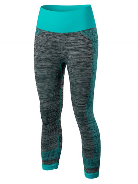 ladies Sport Capri Running Leggings - BLUE M Mobile