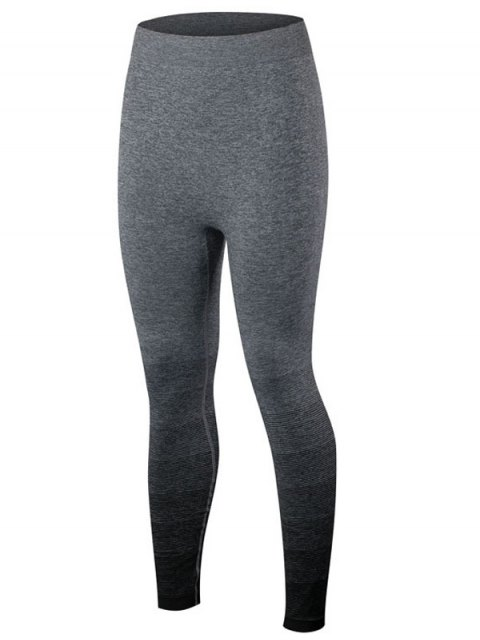 hot Gradient Color Sport Running Leggings - BLACK M Mobile
