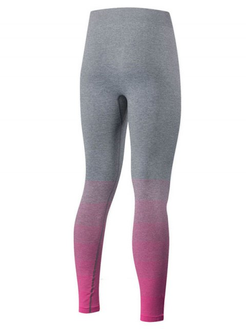 outfits Gradient Color Sport Running Leggings - ROSE RED L Mobile