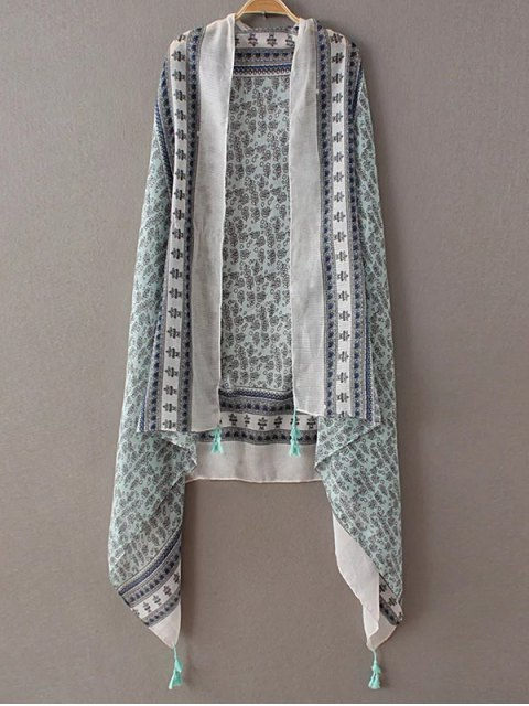 outfit Tiny Floral Tassel Pashmina - LIGHT GREEN  Mobile