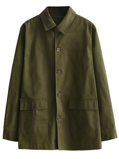 shop Retro Embroidered Shirt Collar Coat - ARMY GREEN M Mobile