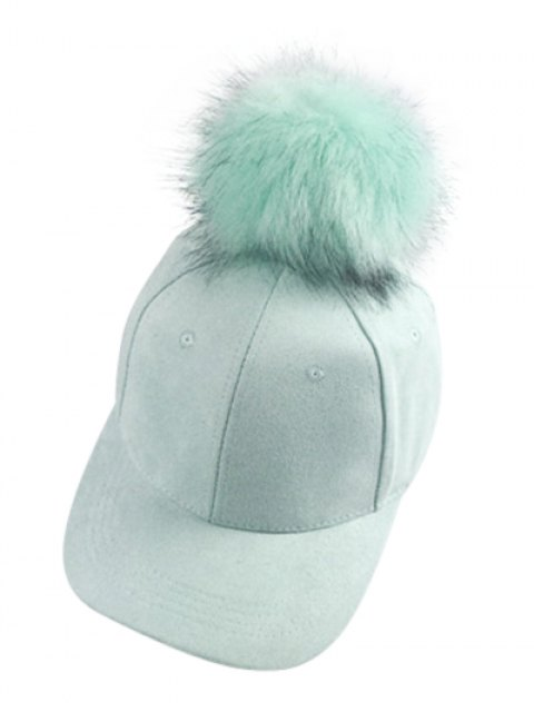 shop Big Fuzzy Ball Faux Suede Baseball Hat - MINT GREEN  Mobile