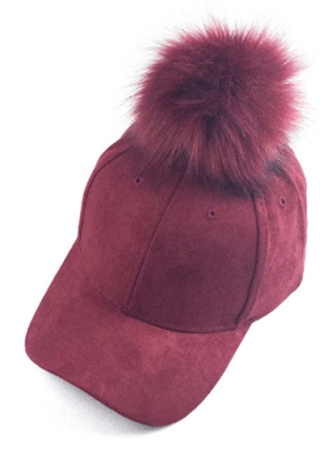 hot Big Fuzzy Ball Faux Suede Baseball Hat - WINE RED  Mobile