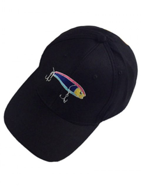 shops Fish and Fishhook Embroidery Baseball Hat - BLACK  Mobile