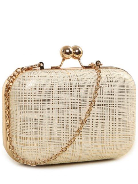 women Kiss Lock  Chains Stripe Evening Bag - OFF-WHITE  Mobile