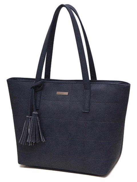 women's Checked Pattern Metal Tassels Shoulder Bag - DEEP BLUE  Mobile