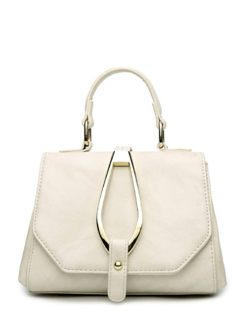 unique Magnetic Metal Flap Tote Bag - OFF-WHITE  Mobile