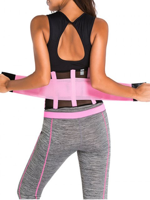 hot Hook and Loop Waist Trainer Corset - PINK M Mobile